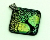 Tree of Life Diamond - Etched and Fused Dichroic Glass Pendant