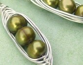 Three Peas in a Pod Earrings in Sterling Silver and Freshwater Pearls FREE SHIPPING