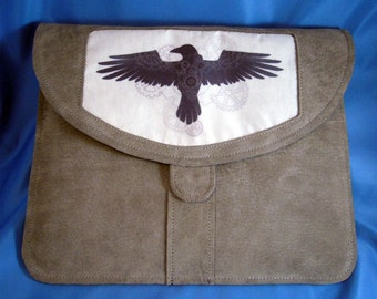 Gray suede iPad sleeve/Clutch with Clockwork Raven silk insert / Reduced Price