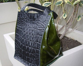 Leather Lunch Bag with alligator embossed cowhide and green patent lambskin