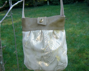 Gold lame leather pleated pouch purse