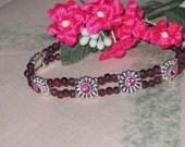 Garnet & Rose Swarovski Crystal Slide Bracelet