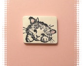 Little Cat Pin, White Cat, Kitten Face Pin, black white pink - handcrafted polymer clay jewelry