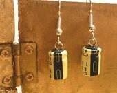 Geek Earrings, Recycled Capacitors, Yellow and Black, Tech Style Earrings, Geek Sheek Jewelry
