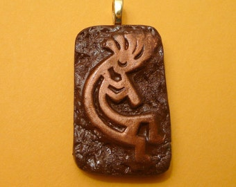 Kokopelli Pendant, Southwestern Jewelry, Gift For Him, Men's Jewelry, brown and copper, handmade polymer clay