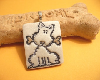 Cute Dog Jewelry, Puppy Pendant, Dog With Bone, Dog Lover Gift, Optional Chain Necklace, Whimsical Polymer Clay