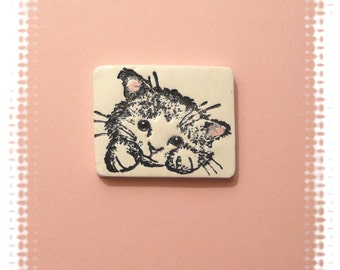 Little Cat Pin Brooch, White Cat, Kitten Face, Cat Lapel Pin, black white pink, polymer clay jewelry
