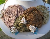 Bronze Gold and Copper Silk Rose Bib Necklace