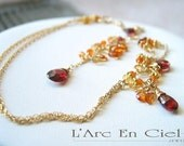 Custom Order - Garnet, Mandarin Garnet, Citrine, Carnelian Necklace and Earring set