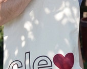 CLE love canvas tote bag
