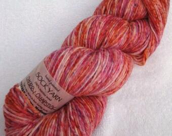 Speckled Sock Yarn in Cherry Chapstick