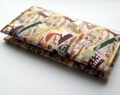 Travel themed fabric Business card case