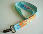 Hawaiian Print Lanyard Keychain, blue work id holder, badge holder,