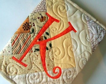 Quilted Monogrammed Journal Cover in neutrals with Orange initial, custom made, personalized, one of a kind, Choose an initial. great gift