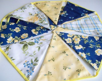 Blue and Yellow Bunting Banner Fabric Pennants