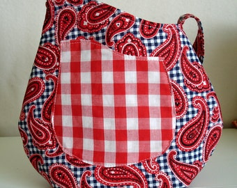 Red and Blue Bandanna Print Purse with Pocket, Cow Girl, Country, Small Handbag, fabric, red white and blue, lined purse, gingham, paisley