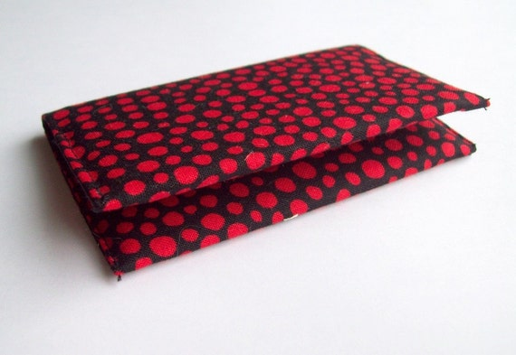 Red and Black Polka Dot Business Card Case