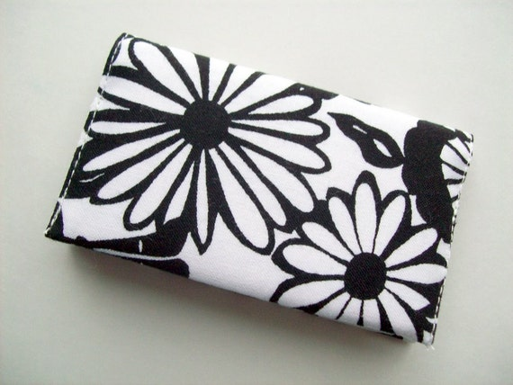 Black and White Fabric Card Holder - Daisy print