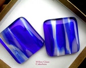 Fused Glass Cabochons,  2 large Streaky Blue Glass Cabs, Glass Cabochons, Glass Cabs, Willow Glass, Blue and White