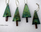 Fused Glass Ornaments set of 4 Christmas Tree, Glass Ornament, Iridescent
