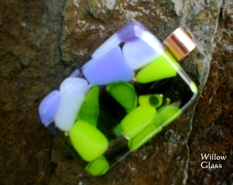 Fused Glass Pendant in Earth and Sky by Willowglass, Glass Jewelry, Glass Pendant, Blue, Green