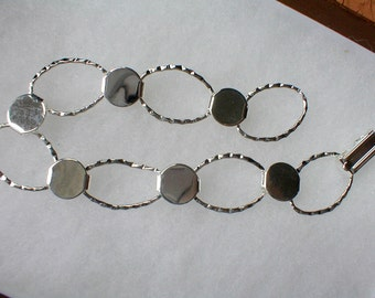 Bracelet Blanks, Silvertone Bracelet Findings, Hammered Discs and Loops, DIY Jewelry Design, Jewelry Supplies, Willow Glass