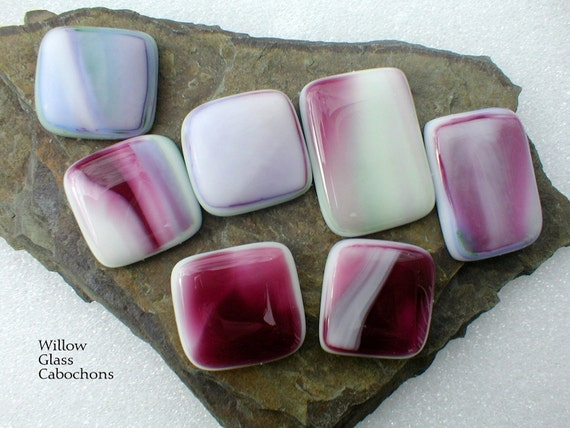 Fused Glass Cabochons 7 in Painterly Streaky Blends, Glass Cabs, DIY Jewelry