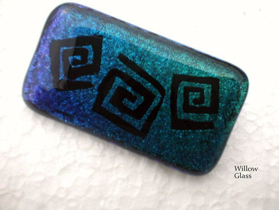 Dichroic Fused Glass Pin Blues and Aquas in Squared Spirals, Dichroic Jewelry, Dichroic Pin, Willow Glass, OOAK, SRAJD