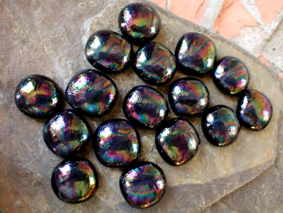 Fused Glass Cabochons 13mm to 15mm, 16 in Patterned Iridescent over Black, Glass Cabochons, Glass Cabs, DIY Jewelry, Willow Glass