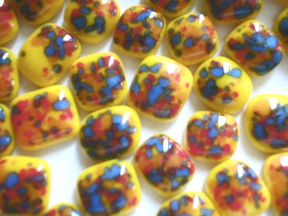 46 YELLOW Freeform Fused Glass Cabochons Test Lot Frit Cabs EGA
