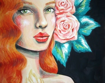 gemma's immaculate heart- original painting- acrylic on watercolor paper