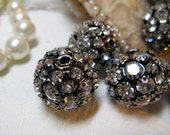 3 Rhinestone beads  LARGE New inventory 20mm vintage style silver