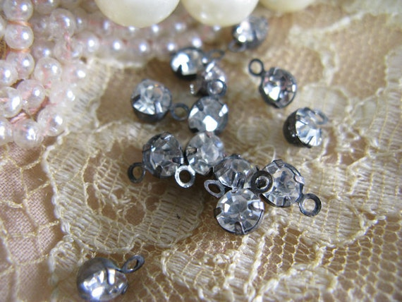 rhinestone bead drops 25 antiqued silver BACK IN Stock