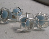 fused glass and wire cufflinks - pastel blues