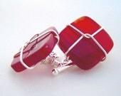 carnelian and sterling cufflinks