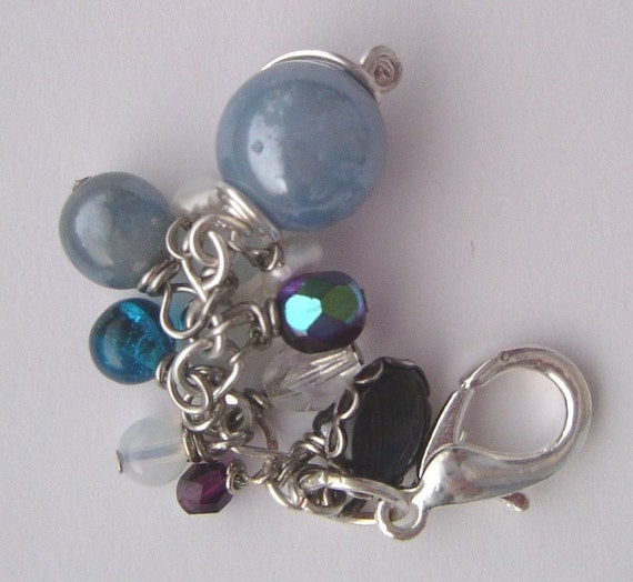 blue bead bag charm