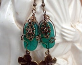 Hawaiian Flowers Glass Dangle Earrings - shaterra