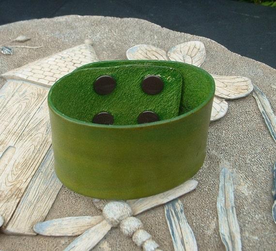 "Cactus Green Leather Cuff Bracelet 1 1/2""  Wide"
