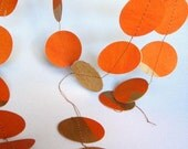 Brilliant Orange and Gold Garland -- upcycled Chinese paper scraps
