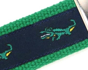 Growling Gator Key Fob in Navy and Green