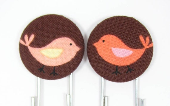 Set of 2 Jumbo Paperclips with Cute Birdies