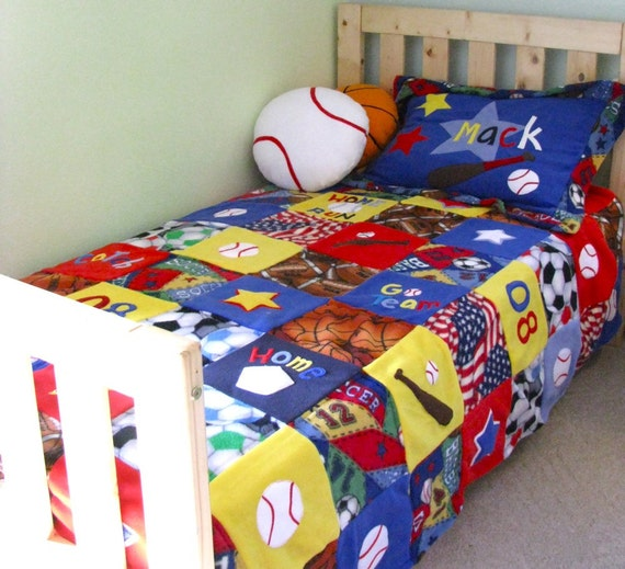 items similar to sports themed bedding set twin size on etsy