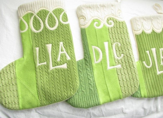 Christmas Stocking Monogrammed SET of TWO  - Lime Greens