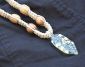 Hemp Square Knot Necklace with Long Glass Pendant All Hand Made and Hand Blown