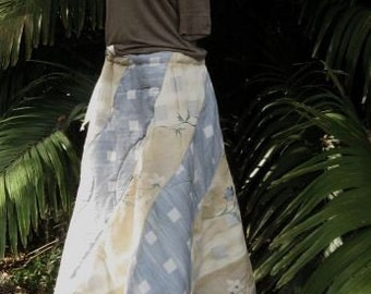 Warmth and Wonder Reclaimed Fiber Quilted Swirly Skirt in Blues and Beige