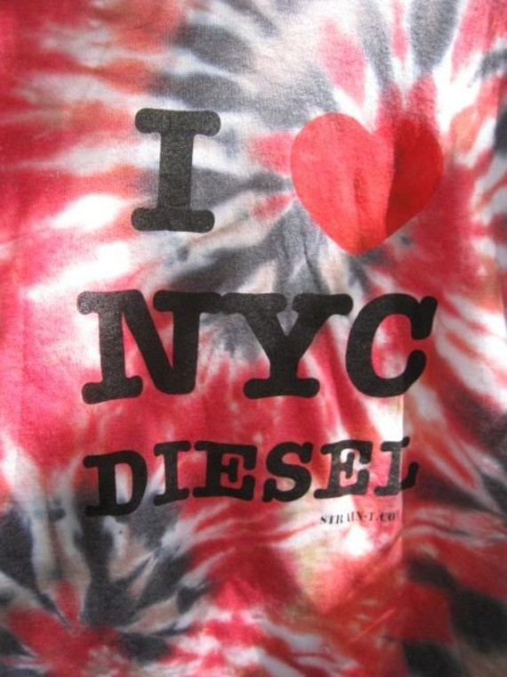 I Heart NYC Diesel Hand Dyed Tshirt Size Large
