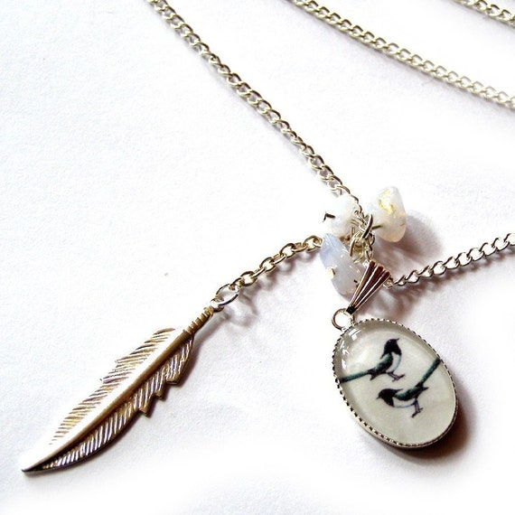 two for magpie silver plated charm necklace