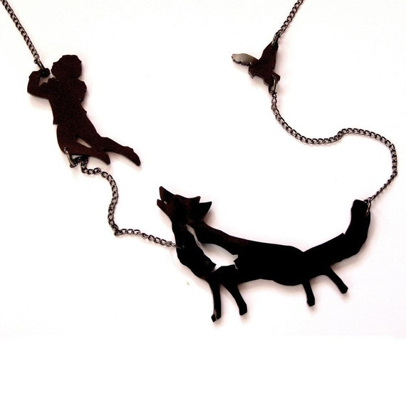 Peter and the Wolf silhouette NECKLACE