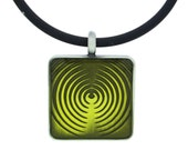 Fun and Funky Handmade Green Emblem Epoxy Necklace