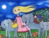 Baby Elephants Art Print - 'Orphans' - Nursery Art - Childrens Wall decor - Whimsical Folk Art - Dream Series - Naive Style